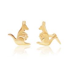9ct yellow gold kangaroo studs Andralok stud earrings / Gift box