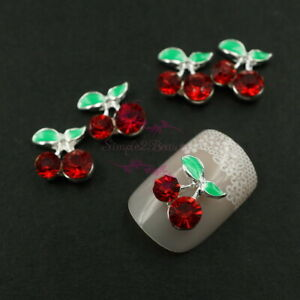 20 Red Rhinestones Cherry Silver Plated Metal 3D Nail Art Crafts Jewelry Charms