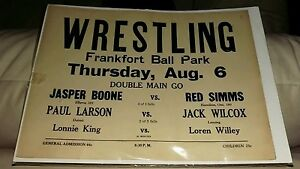 1930's Wrestling Poster, Ball Park, Frankfort Mi Red Simms, Jack Wilcox