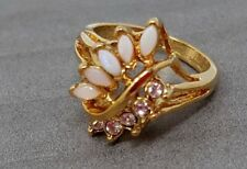 Vintage Opal Rhinestone Gold Plated Ring size 7