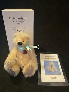 Deb Canham Miniature Jointed Mohair Teddy Bear Stiched Heart Bailey in Box
