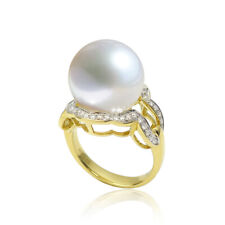 Gorgeous 13.2mm White South Sea Pearl 0.34ct Diamond Ring 18k Solid Yellow Gold