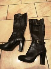 DUNE BLACK LEATHER BOOTS SIZE 5, EUR 38