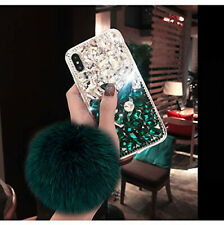 Bling Rhinestone Crystal Fluffy ball Soft TPU+ PC Case Cover For Cell Phones