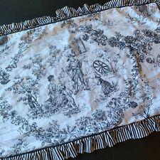 Black White Toile Pillow Sham King Size Floral Stripe Ruffles