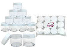 12 Pieces 30 Gram/30ml Plastic Clear Sample Jar Containers with White Flat Lids