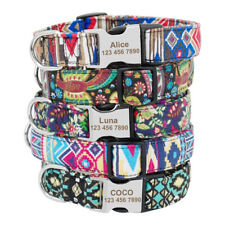 Engraved Dog Collar Tags Fashion Floral Personalised Nylon Collar 6 Colors S M L