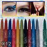 12 Colors Pro Highlighter Eyeshadow Pencil Cosmetic Eyeliner Pen Makeup Tool Set