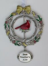 zz6cd Best Teacher's Aide Christmas Cardinal 3D Ornament