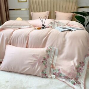Pink Cute Princess Tencel Embroidery Four-Piece Summer Silky Bedding Cover Bed