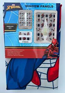 "New Spiderman Marvel Drapes Curtains Set Window Panels With Tiebacks 82""x63"""