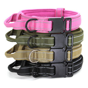 Tactical Heavy Duty Nylon Large Dog Collar K9 Military Training & Metal Buckle