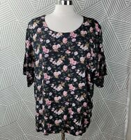 Vintage 90s Plus Size 22 2X Top Abstract Floral Print shirt top rose grunge pink
