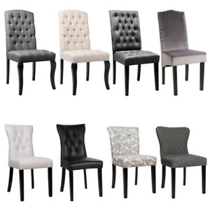 2 Pcs Dining Chairs Fabric Padded Seat Wooden Legs Dining Living Room Kitchen UK