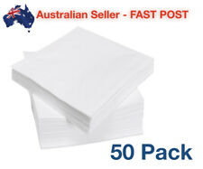 50 Pack Serviettes 25cm Square 2 Ply Napkins White Plate Party Disposable Tissue
