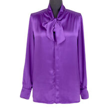 Womens Ladies 19MM 100% Mulberry Silk Pussy Bow Shirt Tops MOP Buttons Blouse