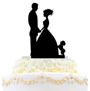 Bride And Groom Family Wedding Cake Topper Funny Couple With Dogs Cats Love Gift