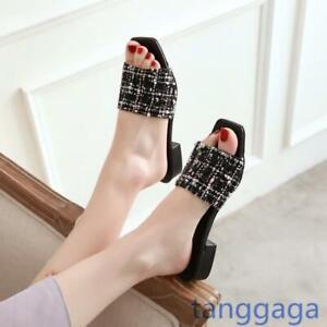 Summer Women Square Toe  Slip On Mules Flats Slipper Comfortalbe  Shoes Size 14