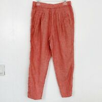 by Anthropologie Coral Orange Tan Thin Striped Linen Pull On Pants - Medium