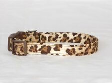"""3/4"""" Small Snap Closure Dog Collar Brown Leopard"""