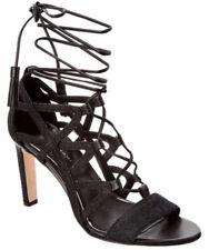 Elie Tahari Hurricane Black Denim Lace Up Open Toe Heels Sandals Shoes 6 36 NEW