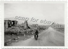 Original WWII Photo Motorcycle Rider Bombed Ruins France