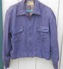 Vintage 50'S Gabardine Rayon Purple Pocket Zipper Jacket Sz Lg By Macmurray