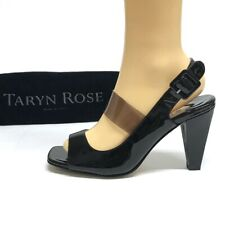 TARYN ROSE Neiman Marcus Patent BLACK Smoky CLEAR PVC Sandals Heels 8 with BAG