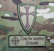 INFIDEL CROSS CRUSADER USA ARMY MULTICAM 2 HOOK PATCH SET