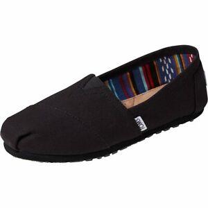 TOMS Women's Black Black Canvas Classic Alpargata Slip On Shoes