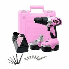 Pink Power 18V 18 Volt Nicad Cordless Drill Set Electric Driver Kit Lightweight