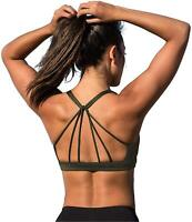 icyzone Padded Strappy Sports Bra Yoga Tops Activewear Workout, Army, Size