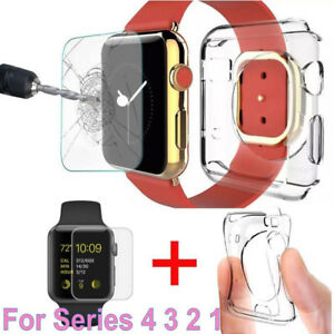 For Apple Watch Series 4 Tempered Glass Screen Protector Soft TPU Case 40mm 44mm