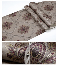 PVC Victorian Embossed Heavy RoseRed Damask Wallpaper Rolls Gold Silve Decor