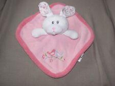Just Born Pink Bunny Rabbit Birds Baby Blanket Security Lovey Girl