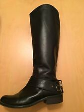 Juicy Couture 6.5 Black Leather Cadley Equestrian Harness Riding Boot
