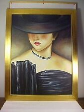 FANTASTIC AND LARGE SPANISH LADY PORTRAIT PAINTING OIL ON CANVAS ARTIST SIGNED