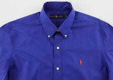 Men's RALPH LAUREN Royal Blue Cotton Shirt 2XLT 2LT 2XT TALL NWT NEW Orange Pony