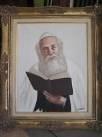 Original Oil Painting On Canvas Jewish Rabbi Portrait, Signed By Garcia W/ Frame
