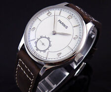 44mm parnis unitas 6498 white dial silver mark manual wind Luxury mens Watch 012