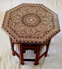Indian Inlaid Rosewood Octagonal Table Royal Design