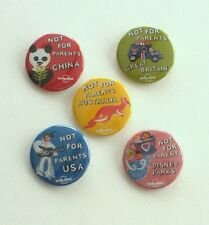 5 Lonely Planet NOT FOR PARENTS Buttons China Australia USA Britain Disney Parks