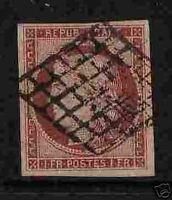 "FRANCE 1849-50 Y&T 6 ""CERES 1F CARMIN"" OBLITERE TTB"