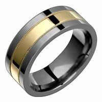 Titanium Ring W 14k Yellow Gold Inlay Wedding Band 8mm Wide Polished Him N Her