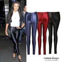 Women's Black Shiny Skinny High Waisted Disco Pants Leggings Australia RRP $50