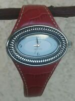 Ecclissi Sterling Oval Case 43mm Red Leather Strap 7 1/4 Wrist New Battery