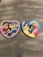 Disney Princesses Heart Shaped Plastic Kids Plates Lot Of Two