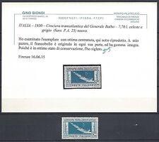REGNO 1930 Crociera Balbo 7,70L MNH** Certificato (RV)