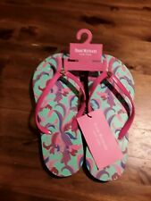 NWT😊 Isaac Mizrachi NY pink/turquoise Flip Flops sz 7 FAST SHIP 😊