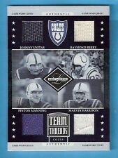JOHNNY UNITAS PEYTON MANNING GAME USED JERSEY CARD #d12/50 COLTS MARVIN HARRISON